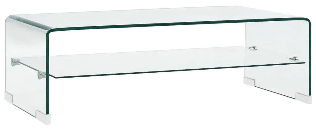 284745 vidaXL Măsuță de cafea, transparentă, 98x45x31 cm, sticlă securizată