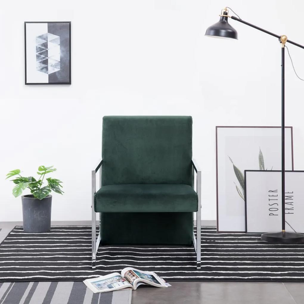 282158 vidaXL Fotoliu cu picioare cromate, verde închis, catifea