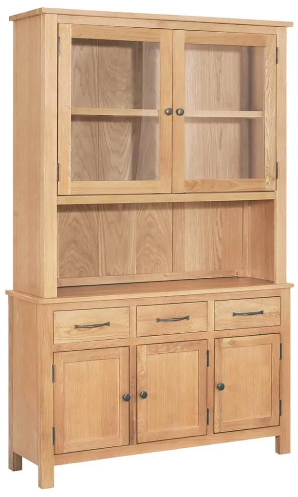 247597 vidaXL Vitrină de birou, 110 x 33,5 x 105 cm, lemn masiv de stejar