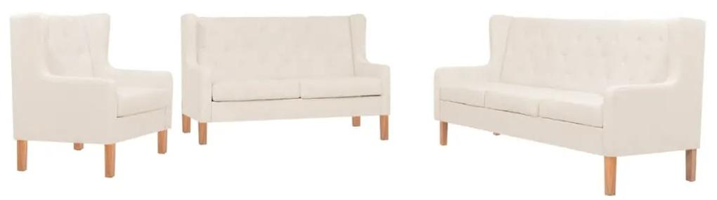 274931 vidaXL Set de canapele, 3 piese, material textil, alb crem