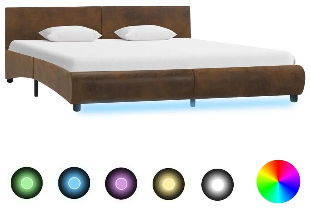 285508 vidaXL Cadru de pat cu LED, maro, 160 x 200 cm, material textil