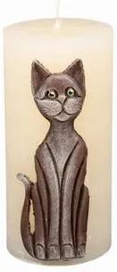 Lumânare decorativă Pisica bej, 14 cm