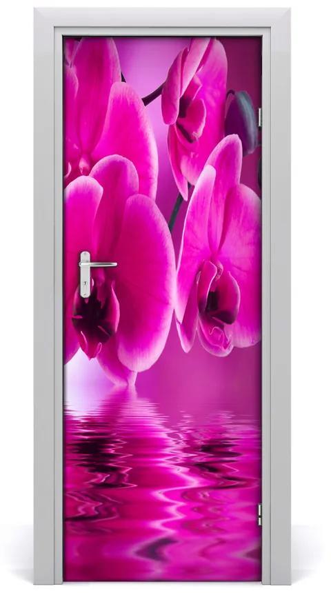 Autocolante pentru usi orhidee roz