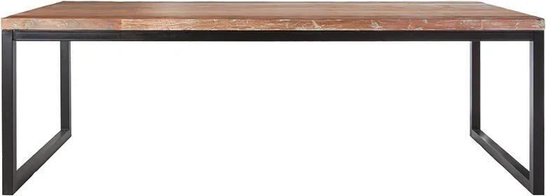 Masa dreptunghiulara din lemn de tec reciclat si metal 160x90x76 cm