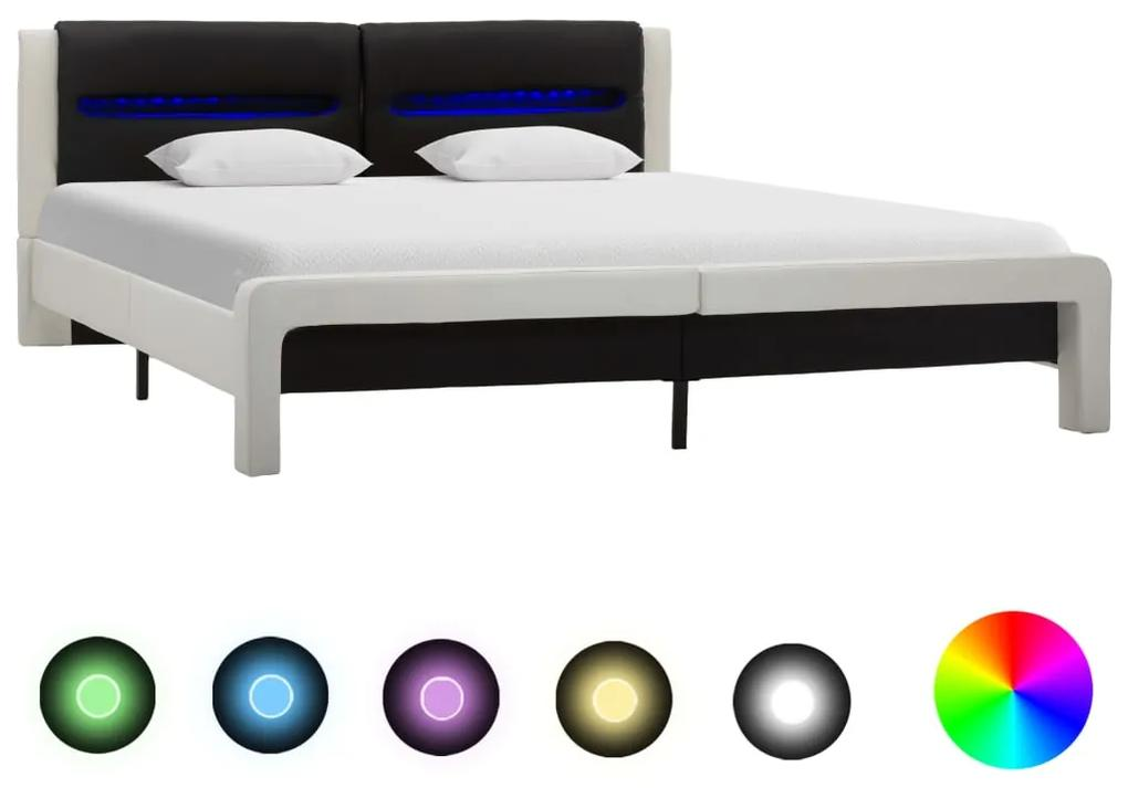 286732 vidaXL Cadru de pat cu LED, alb & negru, 180 x 200 cm, piele ecologică