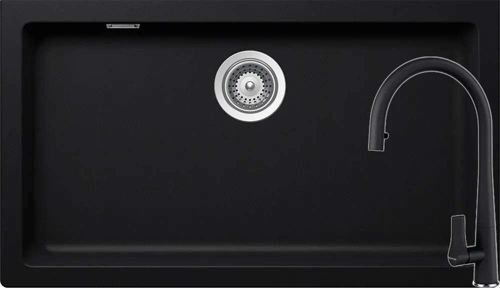 Set Chiuveta Schock Signus N-100XLY 790 x 454 mm si Baterie Schock Gota cu Dus Extractibil Puro Cristadur