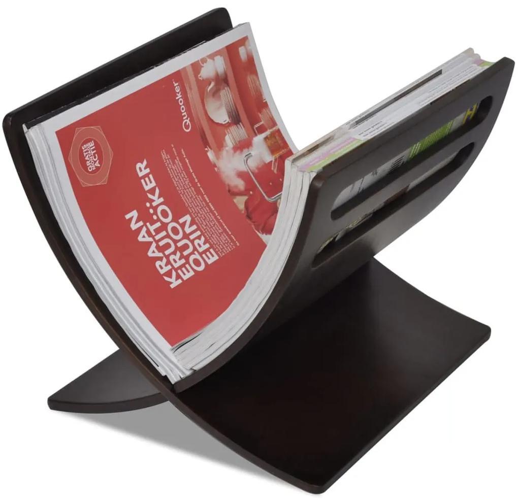 241218 vidaXL Suport din lemn pentru reviste, vertical, maro