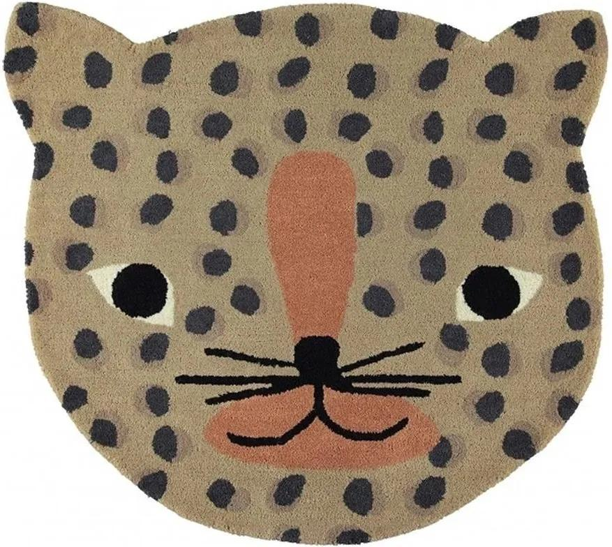 Covor Leopard Camel - Lana Multicolor Inaltime(84 cm) x Latime(94 cm)