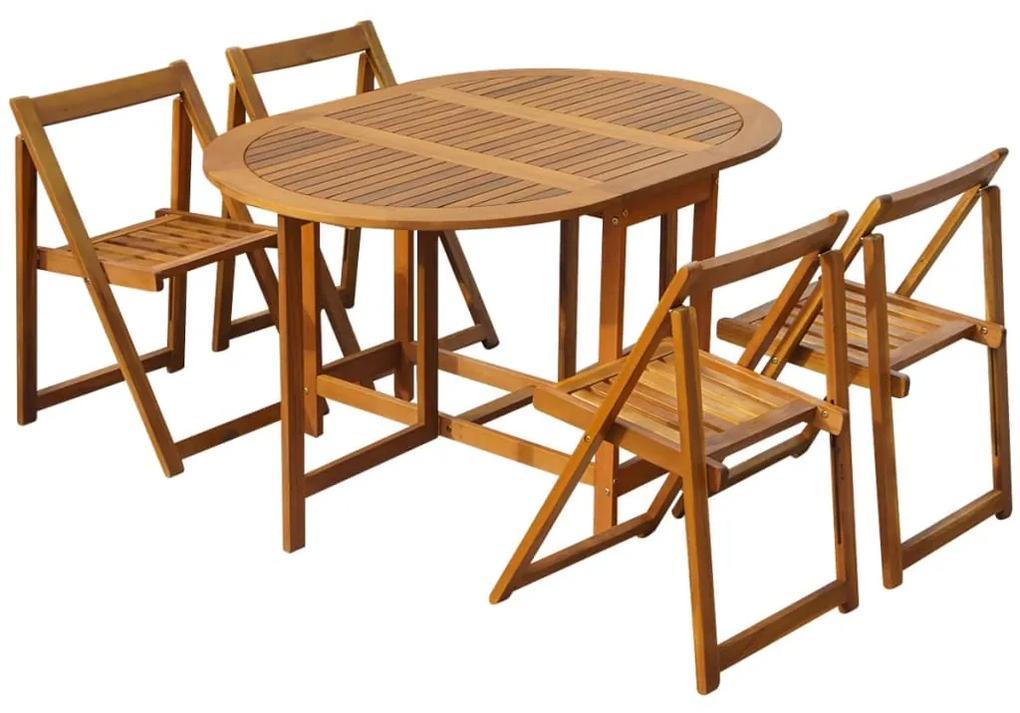 45594 vidaXL Set mobilier de exterior pliabil, 5 piese, lemn masiv de acacia