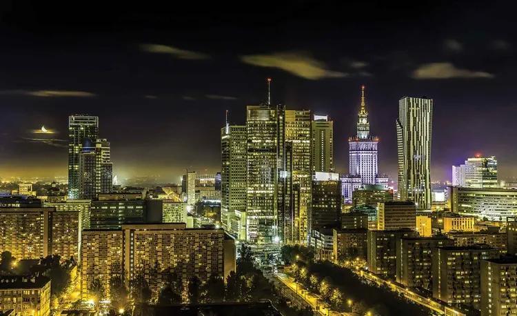 City Warsaw Night Travel Fototapet, (312 x 219 cm)