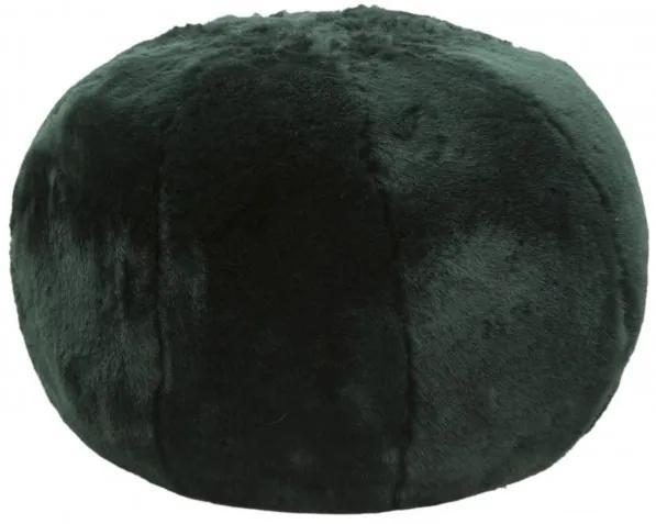 Taburet tapitat cu stofa Plush Verde inchis, Ø50xH30 cm