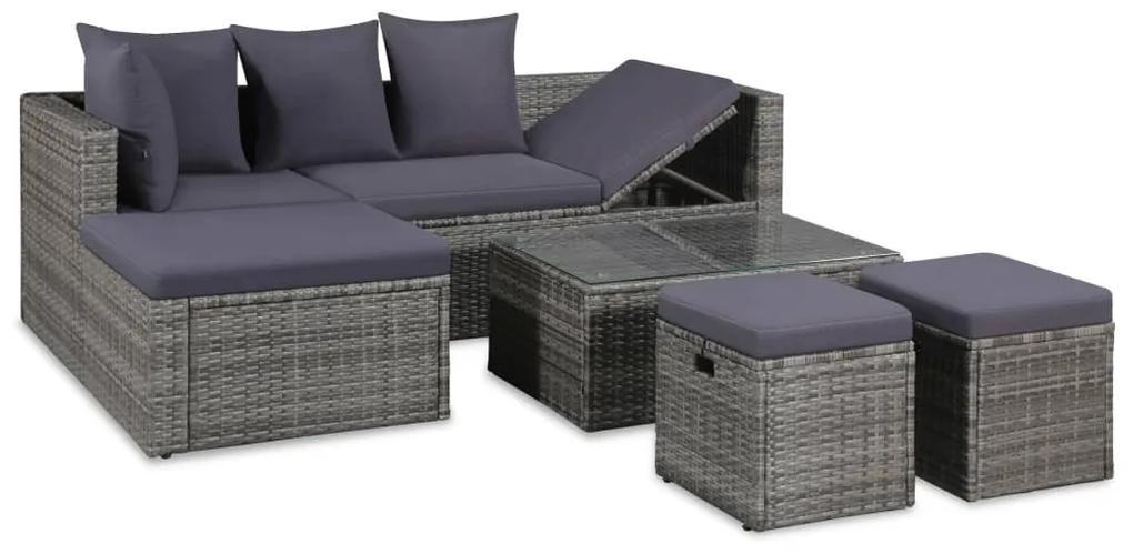 43956 vidaXL Set mobilier de grădină cu perne, 4 piese, gri, poliratan