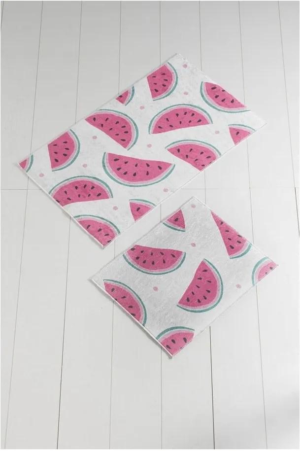 Set 2 covoare baie Tropica Watermelon, alb - roz