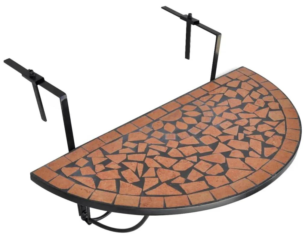 41123 vidaXL Masă de balcon suspendată, teracotă, mozaic