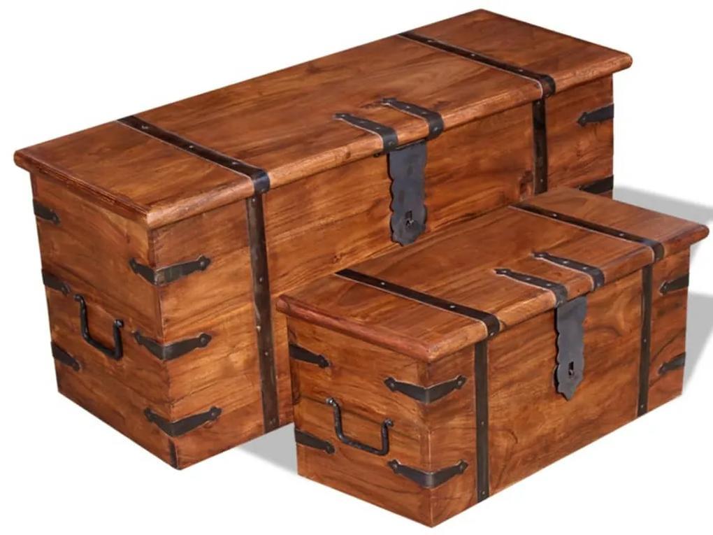 244050 vidaXL Set cufere de depozitare, 2 buc., lemn masiv
