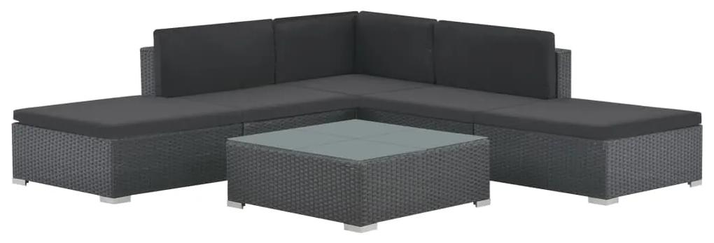 44595 vidaXL Set mobilier de grădină cu perne, 6 piese, negru, poliratan
