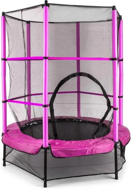 Klarfit Rocketkid, 140 cm trambulină, plasă internă de securitate, roz
