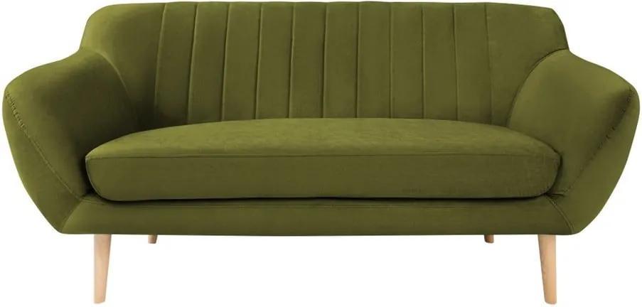 Canapea cu tapițerie din catifea Mazzini Sofas Sardaigne, 158 cm, verde