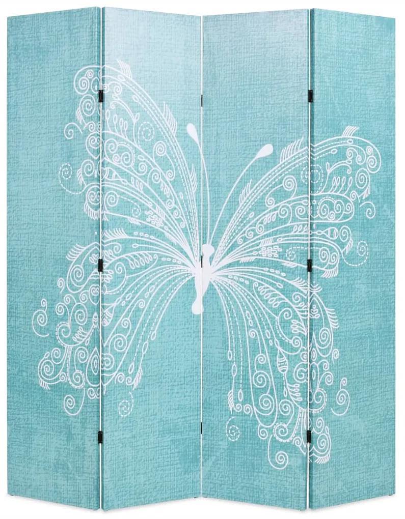 245886 vidaXL Paravan cameră pliabil, albastru, 160 x 170 cm, fluture