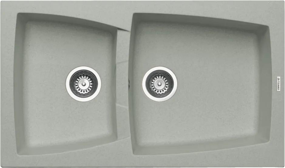 Chiuveta de bucatarie Pyramis Caldera 1 3/4B Metal Aluminium, 86 cm, granit