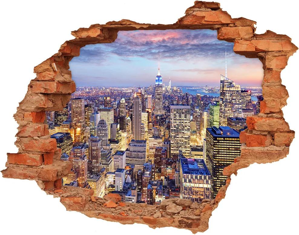 Fototapet un zid spart cu priveliște New York