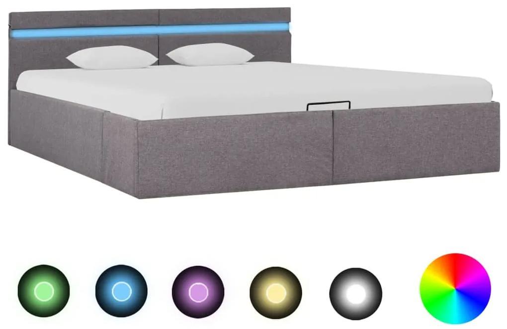 285629 vidaXL Cadru pat hidraulic ladă și LED, gri taupe, 180x200 cm, textil
