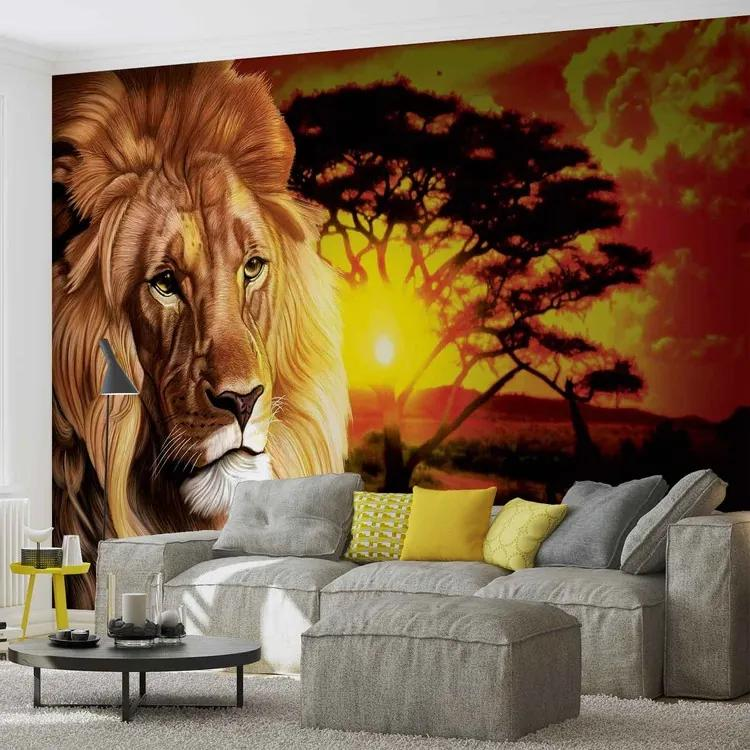 Lion Sunset Africa Nature Tree Fototapet, (312 x 219 cm)