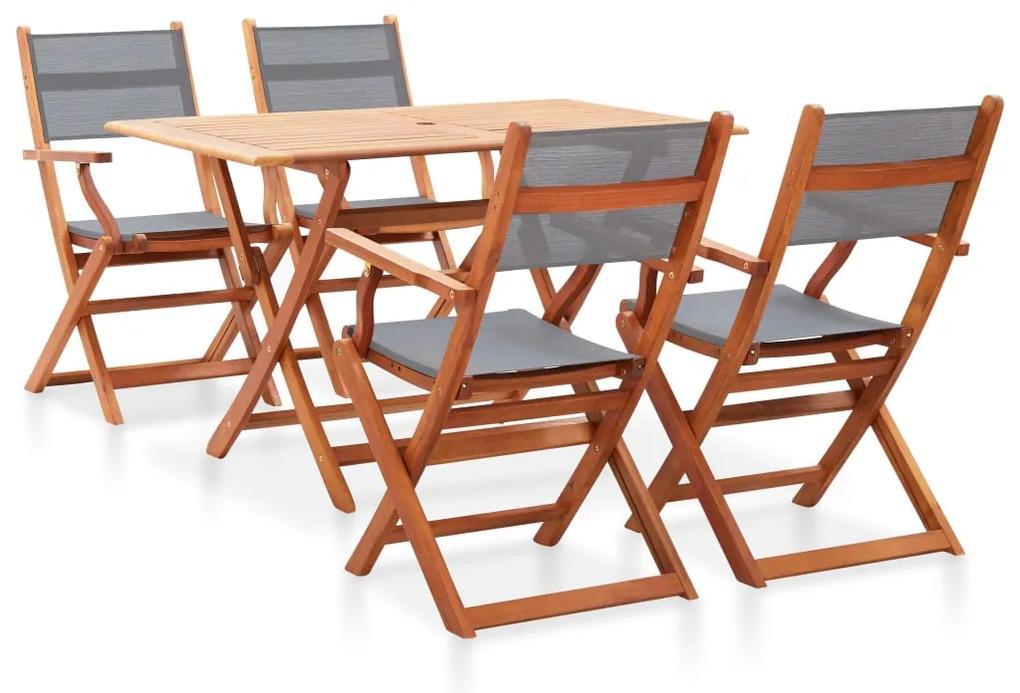 278907 vidaXL Set mobilier de exterior, 5 piese, gri, lemn masiv eucalipt