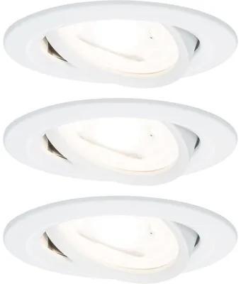 Spoturi incastrabile mobile Nova GU10 6,5W Ø84 mm, becuri LED cu 3 trepte de instensitate incluse, alb mat, 3 bucati