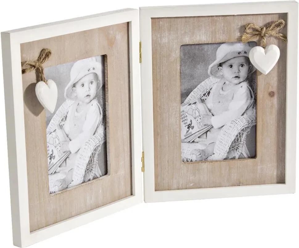 Rama foto de masa 2 fotografii tip carte lemn alb natur 36 cm x 23 h