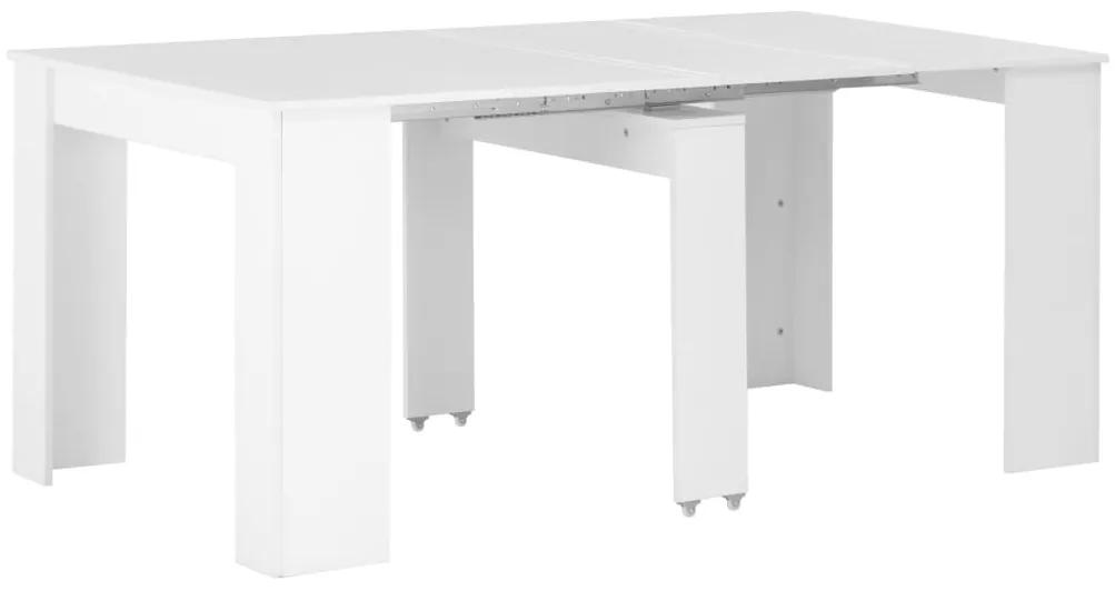 283731 vidaXL Masă de bucătărie extensibilă, alb lucios, 175 x 90 x 75 cm