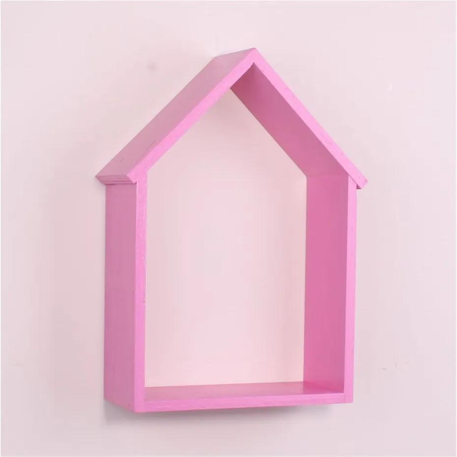 Raft de perete din lemn North Carolina Scandinavian Home Decors House, roz