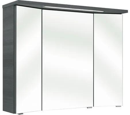 Dulap cu oglinda pelipal Enna I, 3 usi, iluminare LED, 72x90 cm, grafit, IP 44