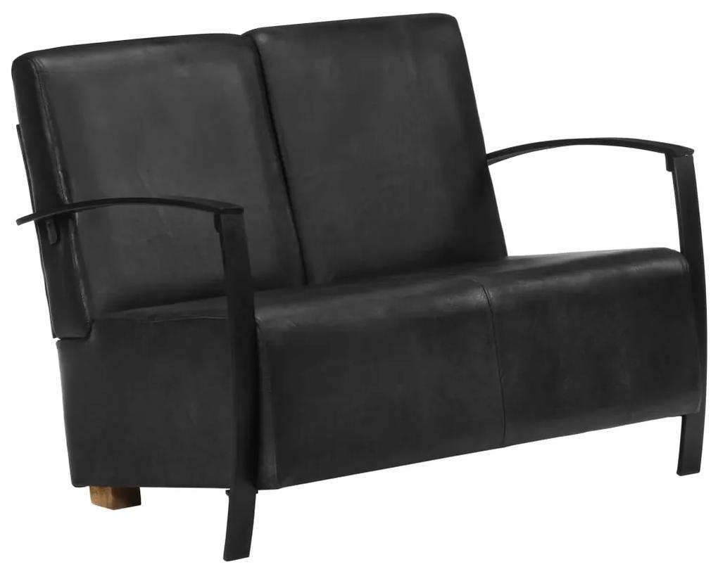 321862 vidaXL Canapea cu 2 locuri, negru, piele naturală