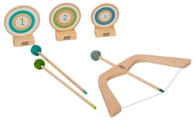 MamaMemo - Set arc si sageti cu tinta din lemn, 3+ FSC