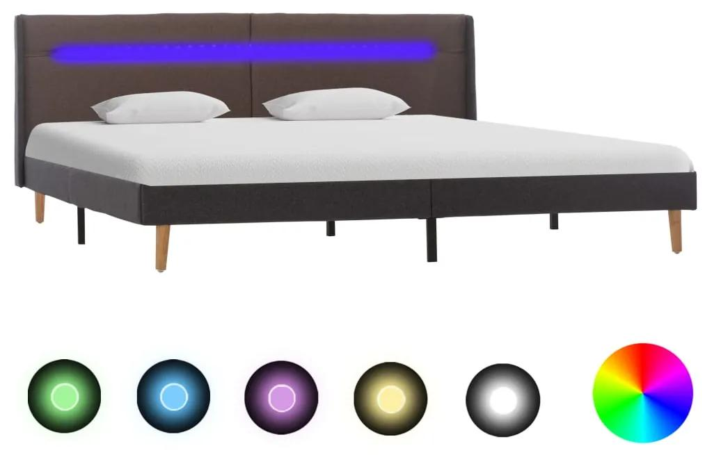 286708 vidaXL Cadru de pat cu LED, gri taupe, 180 x 200 cm, material textil