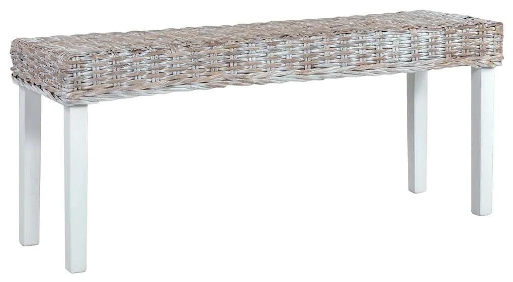 285788 vidaXL Bancă, alb, 110 cm, ratan kubu și lemn masiv de mango