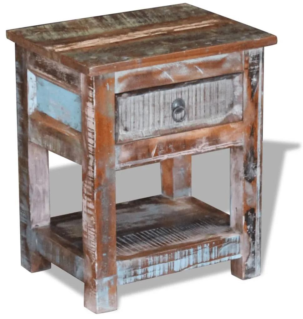 243456 vidaXL Masă laterală cu un sertar din lemn solid de mango, 43 x 33 x 51 cm