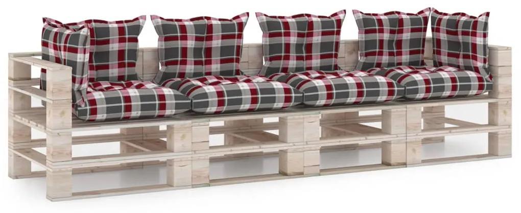 3066141 vidaXL Canapea de grădină din paleți, 4 locuri, cu perne, lemn de pin