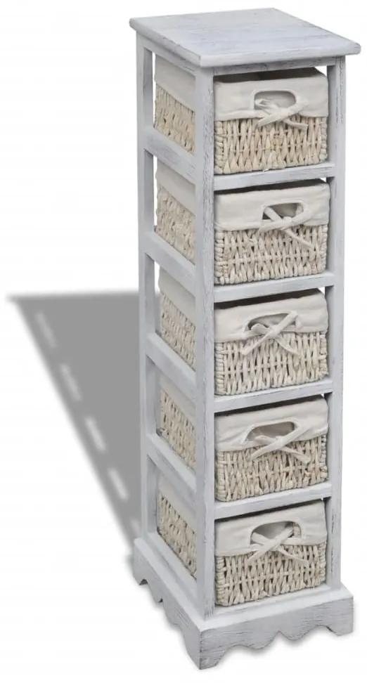 240798 vidaXL Dulap de depozitare din lemn, 5 coșuri împletite, alb