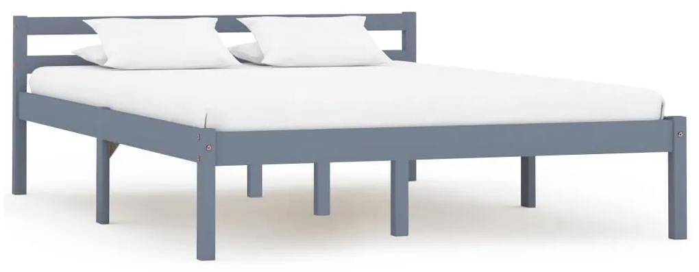 283198 vidaXL Cadru de pat, gri, 120 x 200 cm, lemn masiv de pin