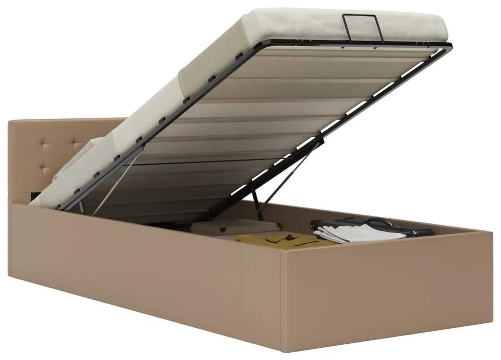 285529 vidaXL Cadru pat hidraulic ladă cappuccino 100x200cm piele ecologică