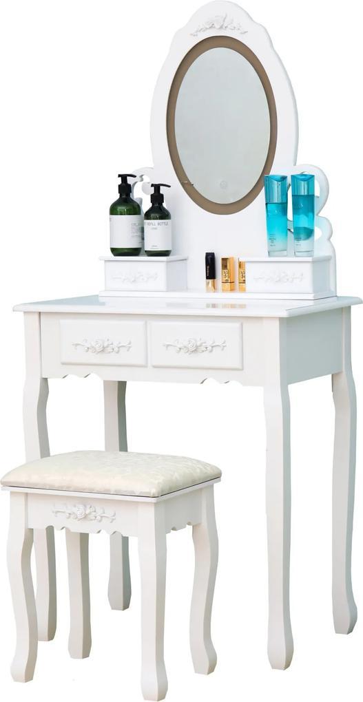 Set Eva, Masă de toaletă cu oglindă iluminată bandă LED, control touch, 4 sertare, scaun, Alb