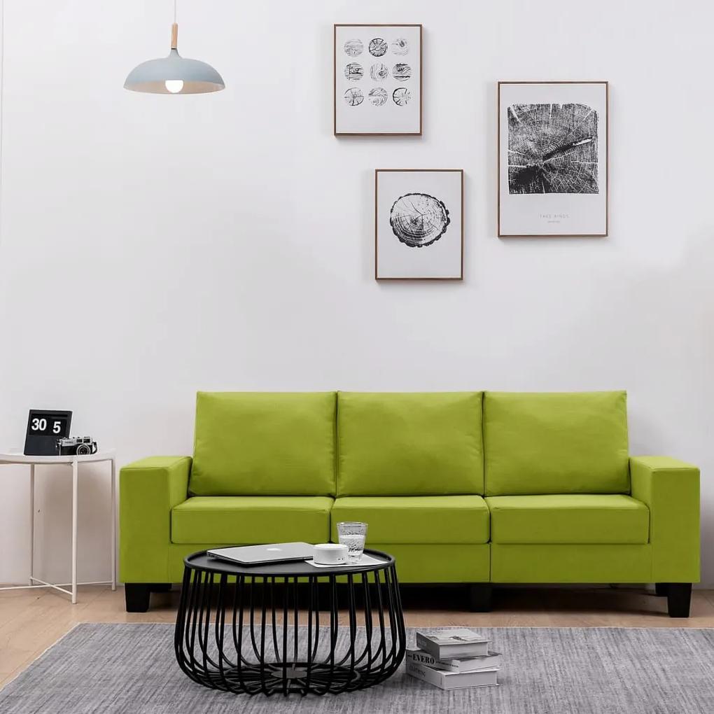 287125 vidaXL Canapea cu 3 locuri, verde, material textil