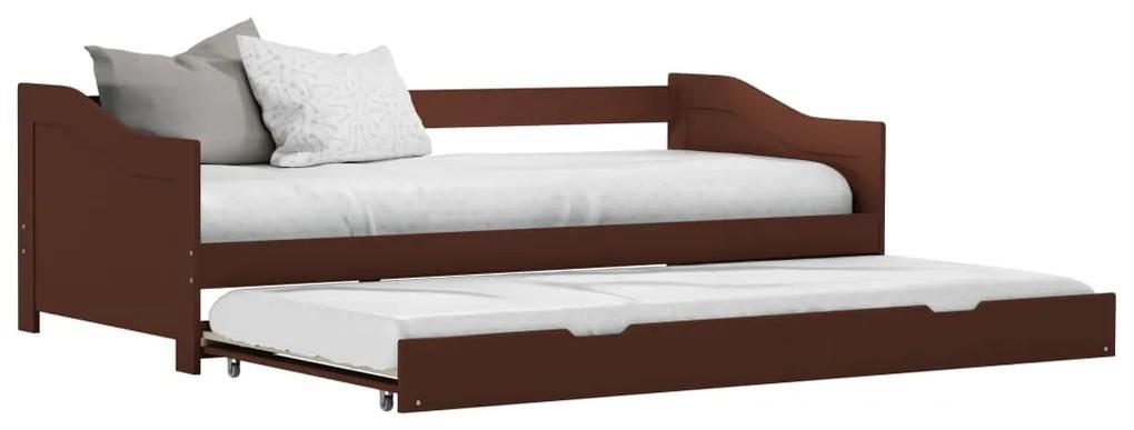 283152 vidaXL Cadru pat canapea, extensibil, maro, 90 x 200 cm, lemn de pin