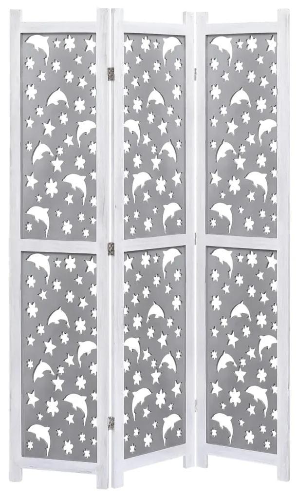 284191 vidaXL Paravan de cameră cu 3 panouri, gri, 105 x 165 cm, lemn masiv
