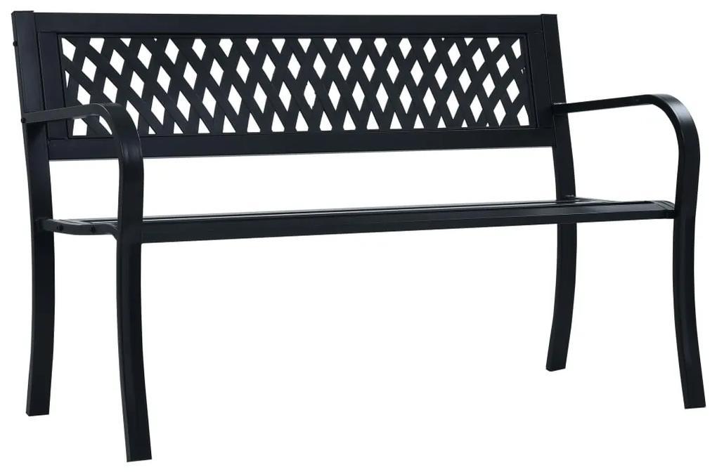 47943 vidaXL Bancă de grădină, negru, 125 cm, oțel