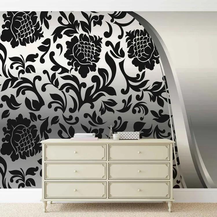 Black Silver Flower Pattern Fototapet, (104 x 70.5 cm)