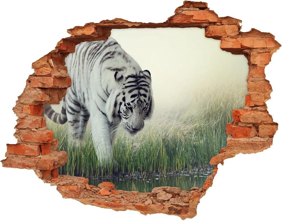 Autocolant un zid spart cu priveliște Tigru alb