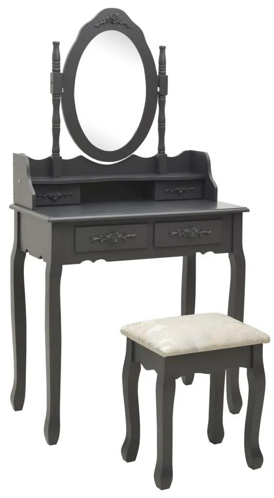 289317 vidaXL Set masă de toaletă cu taburet gri 75x69x140cm lemn paulownia